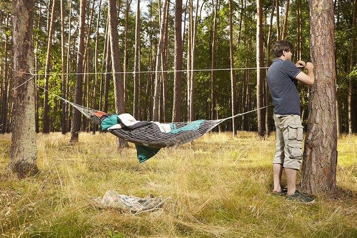 hang hammock in tent